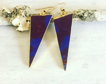 Triangle Sediment Jasper Earrings// Purple Brown Geometric Earrings// Jasper Triangle Earrings// Sediment Jasper// Triangle Earrings
