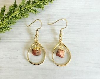 Sunstone Earrings// Gold Teardrop Earrings// Crystal Gemstone Earrings// Sunstone Crystals Earrings