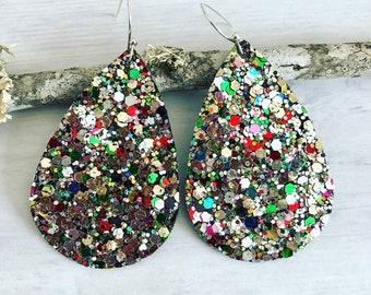 Rainbow Glitter Earrings// Teardrop Glitter Earrings// Faux Leather Earrings// Glitter Multicolor Earrings// Glitter Earrings