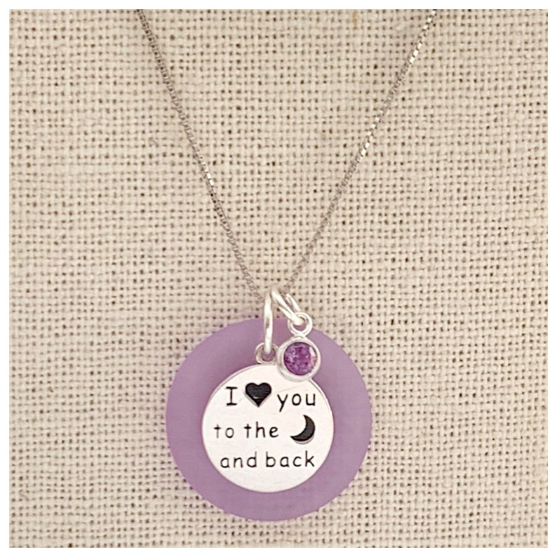 I Love You to the Moon and Back Sea Glass Sterling Silver Necklace