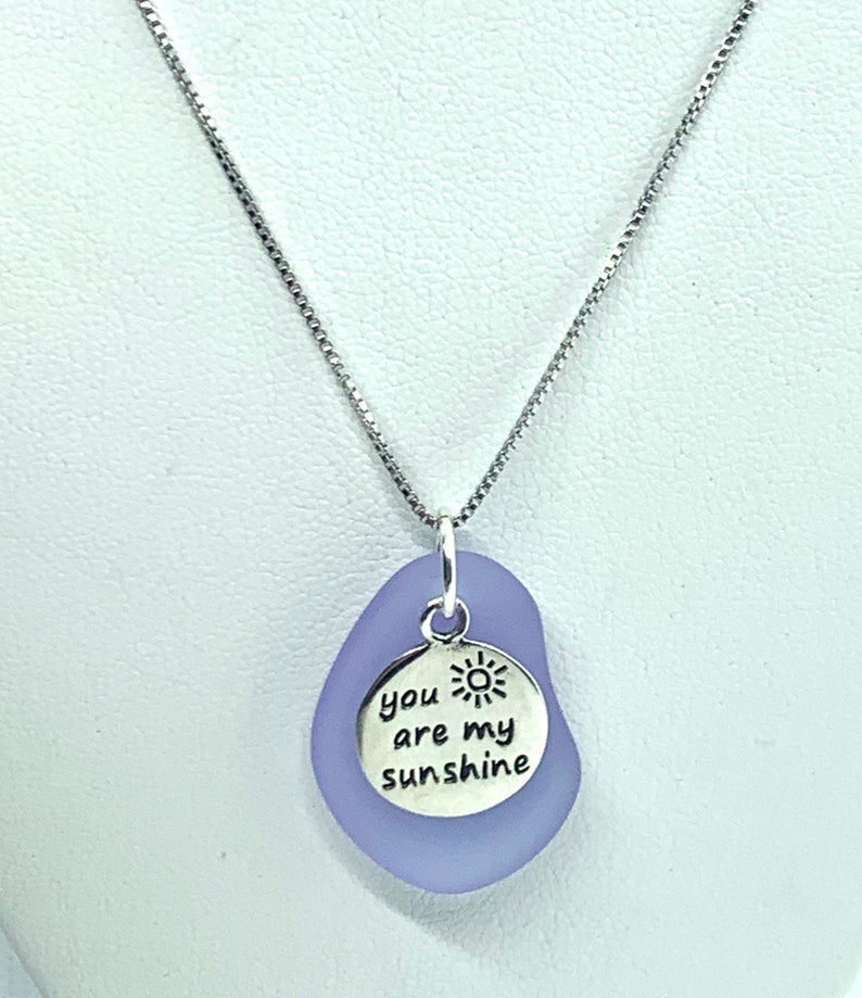 You are my Sunshine Sea Glass Sterling Silver Necklace