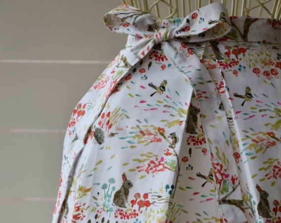 Handmade Half Apron, Kitchen Apron, Garden Apron, Cotton, Pleated, woodland garden