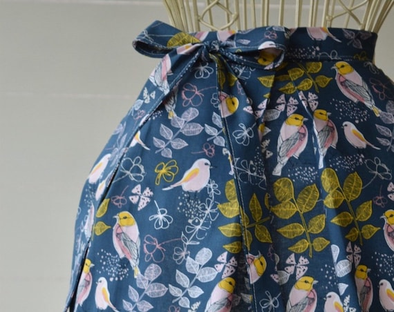 Handmade Half Apron, Kitchen Apron, Garden Apron, Cotton, Pleated, song bird