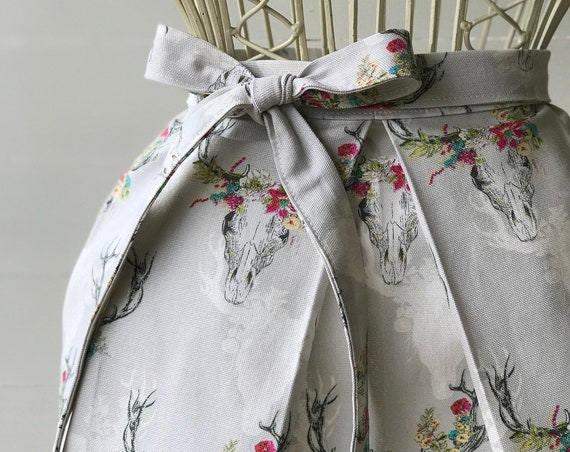 Handmade Half Apron, Kitchen Apron, Garden Apron, Cotton, Pleated, desert floral