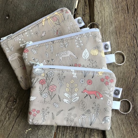 Change Purse | Forest Animals Zipper Pouch, Credit Card Holder, Cotton