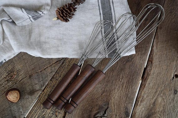 the Whisk Gift Set | MADE TO ORDER Walnut kitchen utensil, hand crafted cookware, stirring whisk
