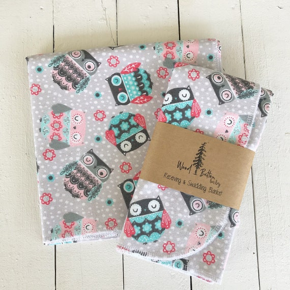 Baby Receiving Blankets | Owl Friends Swaddling Blanket, Stroller Blanket, Flannel