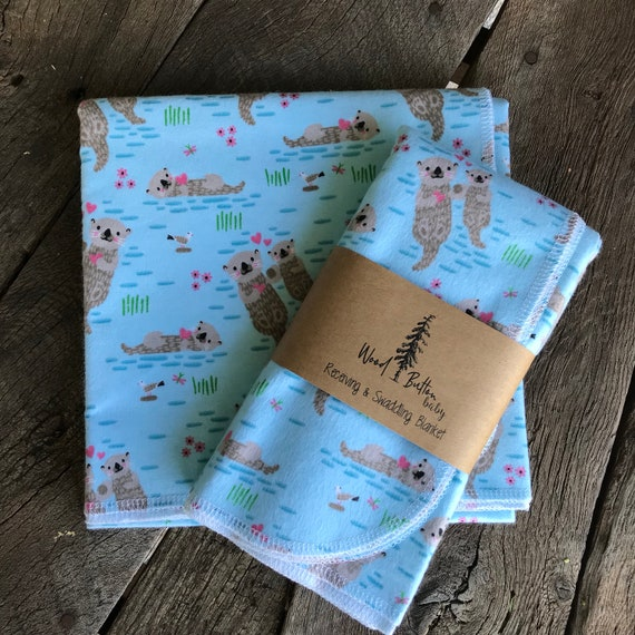 Baby Receiving Blankets | Otter Love Swaddling Blanket, Stroller Blanket, Flannel