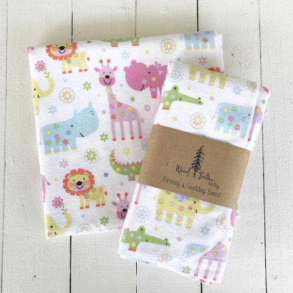 Baby Receiving Blankets | Zoo Life Swaddling Blanket, Stroller Blanket, Flannel
