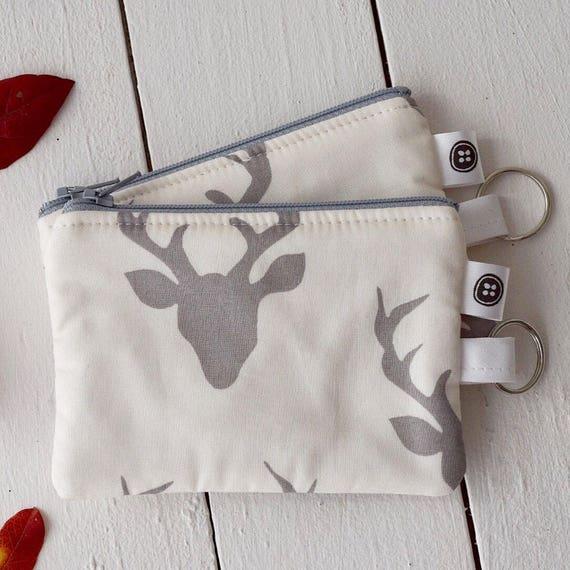 Change Purse | Dear Deer gray and white Zipper Pouch, Credit Card Holder, Cotton