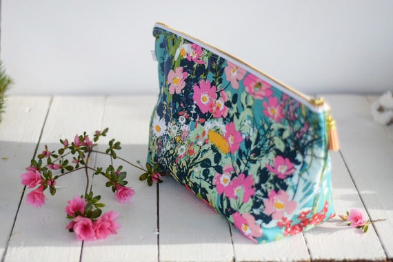 Extra Large Water Resistant Bag | Mother's Garden | Make-Up Bag, Zipper Pouch, Wet Bag, Travel Bag, Cotton