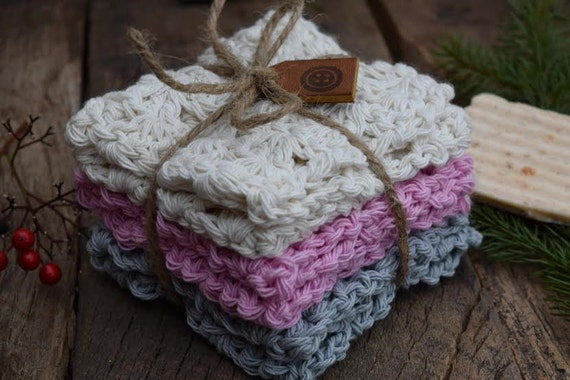 Cotton Crochet Washcloth - Dishcloth - Set of Three - Ivory, Pink, and Gray