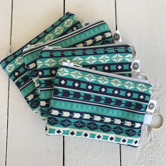 Change Purse | Teal Tribal Grain Zipper Pouch, Credit Card Holder, Cotton