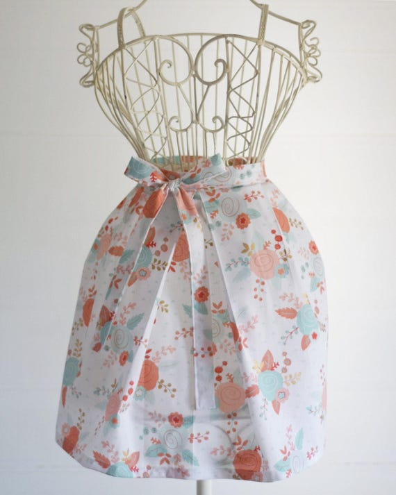 Handmade Half Apron | Rose Kitchen Apron, Garden Apron, Cotton, Pleated,