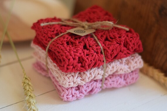 Cotton Crochet Washcloth - Dishcloth - Set of Three - Cherry, Rose Quartz, and Pink