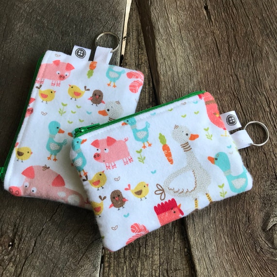 Change Purse | Farm Life Zipper Pouch, Credit Card Holder, Cotton Flannel