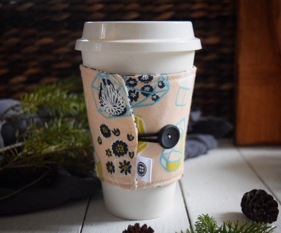 Reversible Coffee Sleeve | Coffee Cup Cozy, Tea Cuff, hanging terrarium