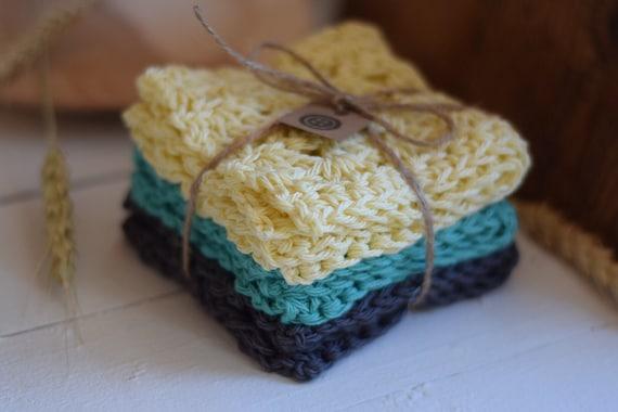 Cotton Crochet Washcloth - Dishcloth - Set of Three - Pale Yellow, Turquoise, and Slate