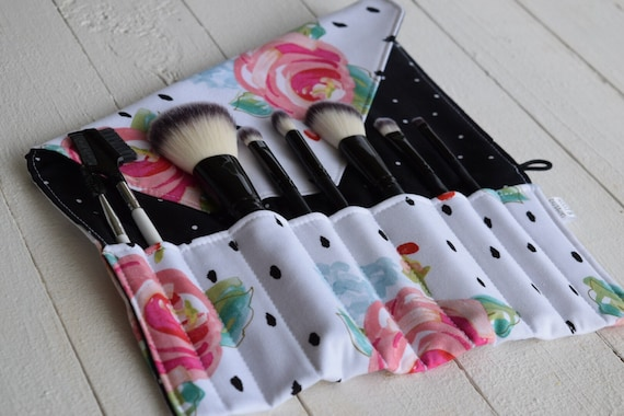 Makeup Brush Roll | Travel Organizer, Makeup Brush Case, Holder, floral with polka dots
