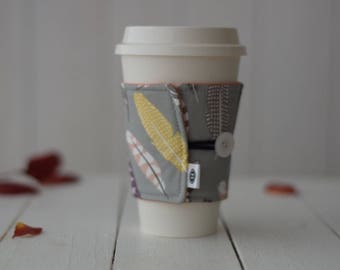 Reversible Coffee Sleeve | Coffee Cup Cozy, Tea Cuff, Feathers