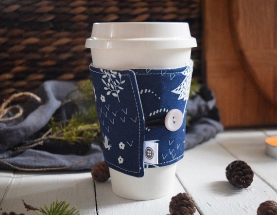 Reversible Coffee Sleeve | Coffee Cup Cozy, Tea Cuff, wetlands