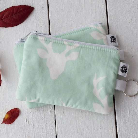 Change Purse | Dear Deer mint and white Zipper Pouch, Credit Card Holder, Cotton