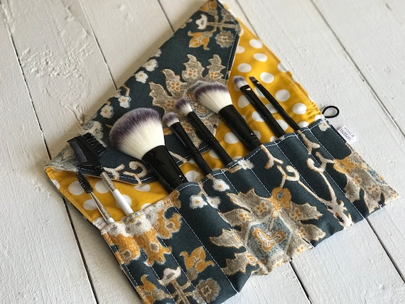 Makeup Brush Roll | Travel Organizer, Makeup Brush Case, Holder, navy gray and mustard with hints of brown