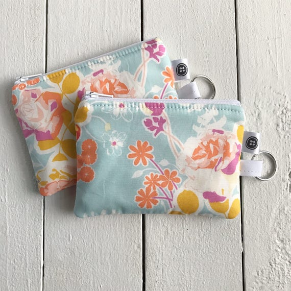 Change Purse | Orchard Blossom Zipper Pouch, Credit Card Holder, Cotton