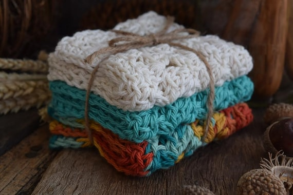 Cotton Crochet Washcloth - Dishcloth - Set of Three - Ivory, Turquoise, and Desert Gold