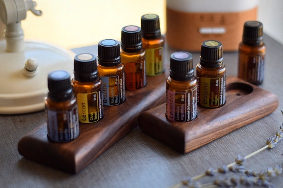 Essential Oil Tray | Walnut 15ml Wooden Display Stand or Holder, Essential Oil Organizer