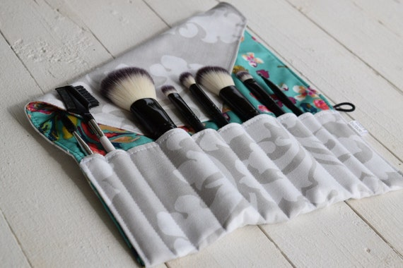 Makeup Brush Roll | Travel Organizer, Makeup Brush Case, Holder, teal floral