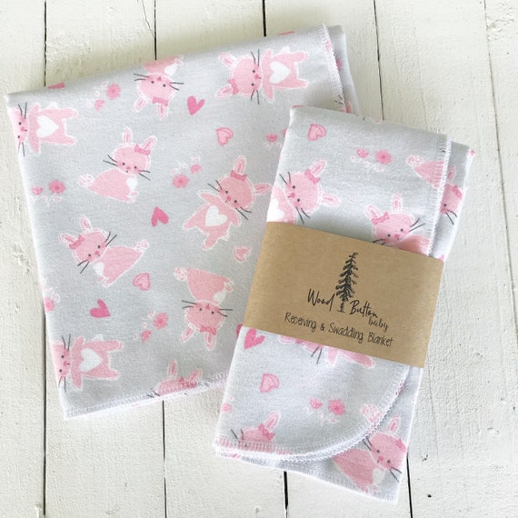Baby Receiving Blankets | Little Pink Bunny Swaddling Blanket, Stroller Blanket, Flannel