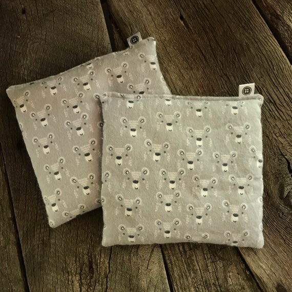 Rice Pack Minis | bears in grey, Flannel Aromatherapy rice bag, hot and cold therapy, Flax Seed, Microwaveable Rice Heat Pad