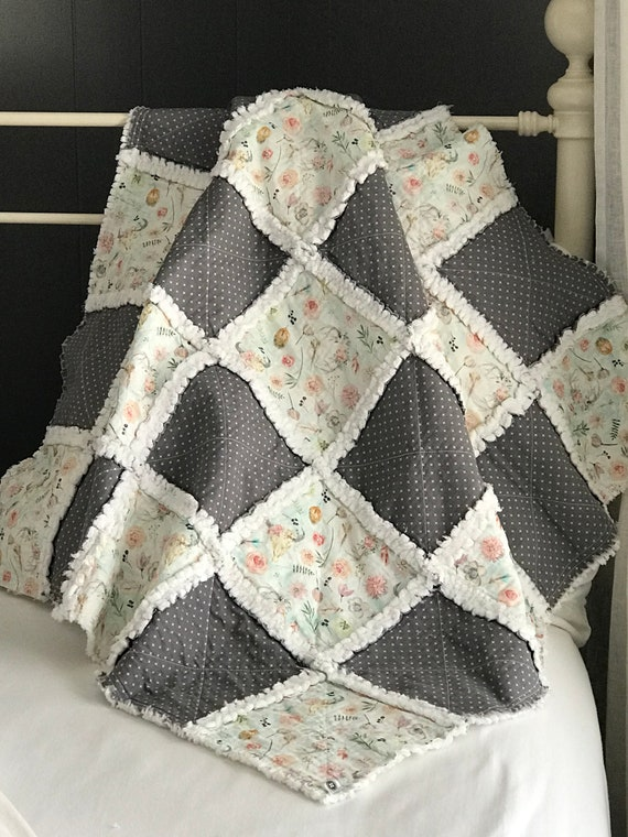 Napping Quilt | Desert Rose, Handmade Rag Baby Quilt, Stroller Blanket, Picnic Quilt
