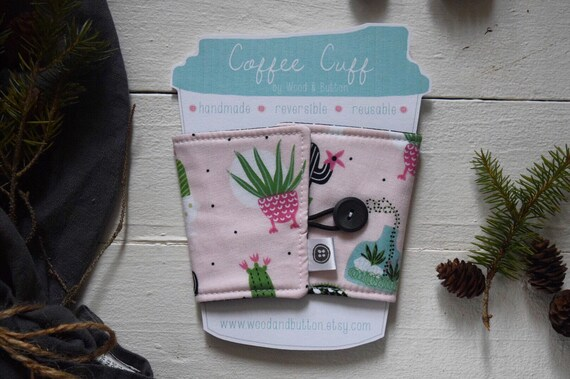 Reversible Coffee Sleeve | Coffee Cup Cozy, Tea Cuff, pink cactus