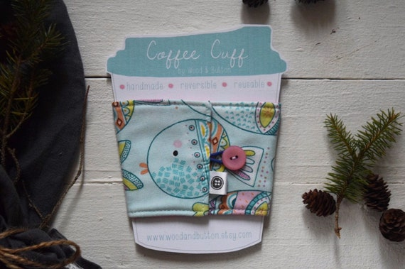 Reversible Coffee Sleeve | Coffee Cup Cozy, Tea Cuff, fishy fish