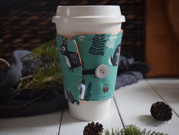 Reversible Coffee Sleeve | Coffee Cup Cozy, Tea Cuff, hidden garden green