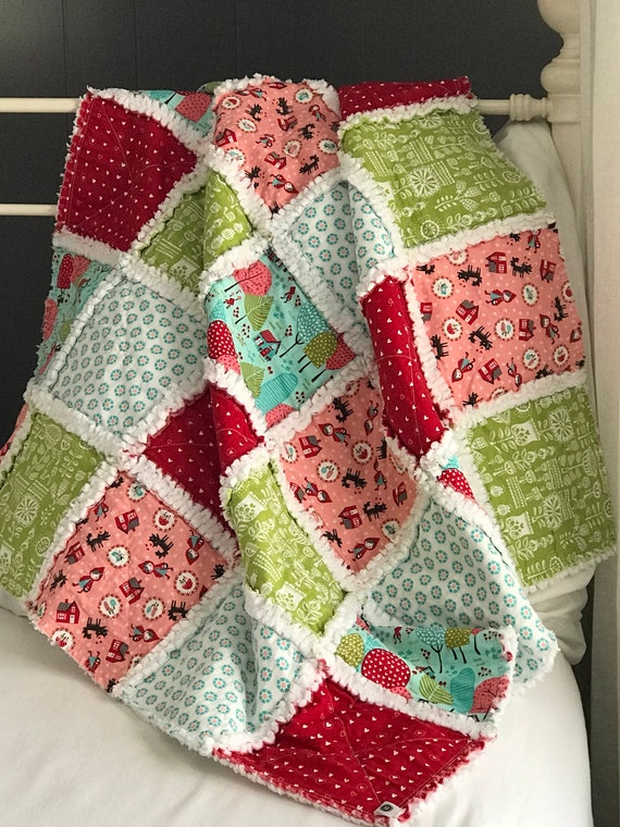 Napping Quilt | Lil' Red, Handmade Rag Baby Quilt, Stroller Blanket, Picnic Quilt