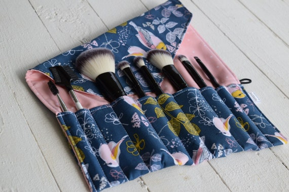 Makeup Brush Roll | Travel Organizer, Makeup Brush Case, Holde, bluebird