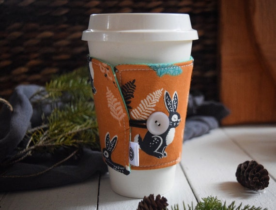 Reversible Coffee Sleeve | Coffee Cup Cozy, Tea Cuff, hidden garden orange