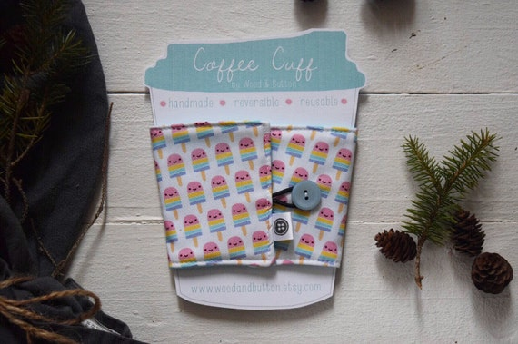 Reversible Coffee Sleeve | Coffee Cup Cozy, Tea Cuff, Popsicles