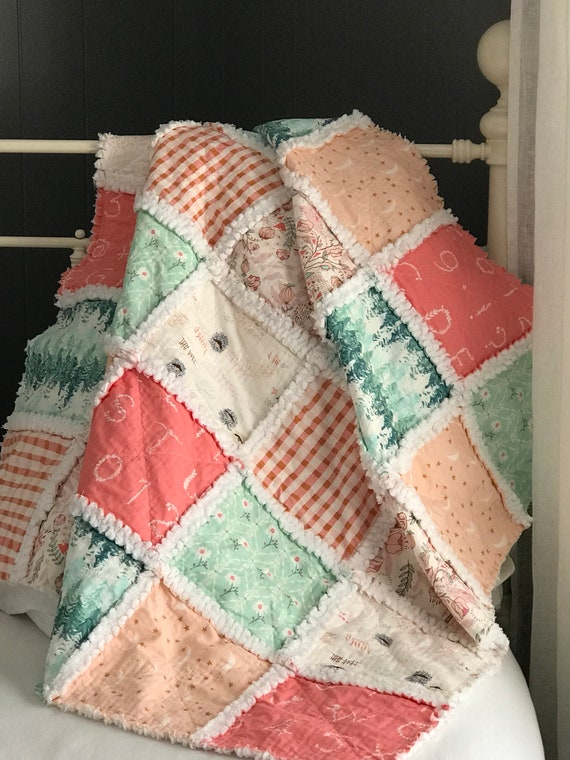 Napping Quilt | Lambkin, Handmade Rag Baby Quilt, Stroller Blanket, Picnic Quilt
