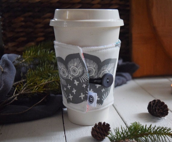 Reversible Coffee Sleeve | Coffee Cup Cozy, Tea Cuff, owls in gray