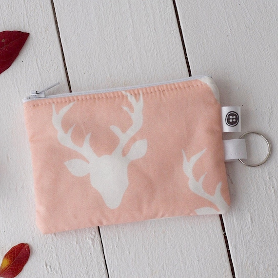 Change Purse | Dear Deer pink and white Zipper Pouch, Credit Card Holder, Cotton