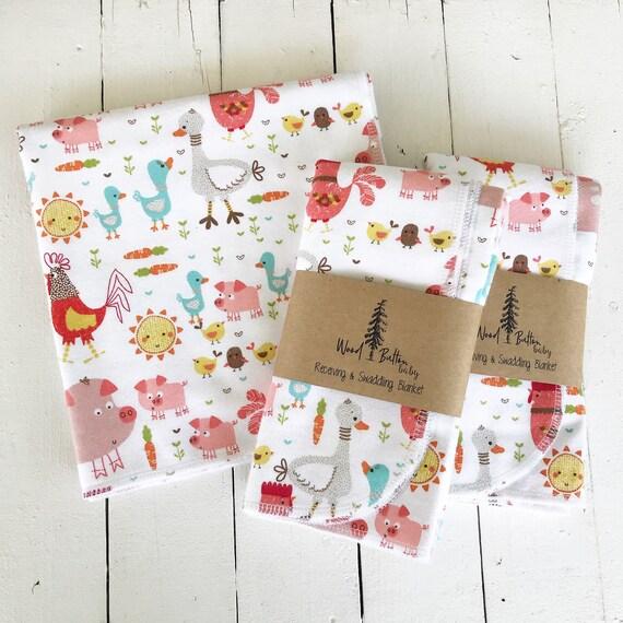 Baby Receiving Blankets | E I E I Oh Swaddling Blanket, Stroller Blanket, Flannel