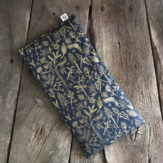 Rice Pack | Nature in gold and navy, medium size Aromatherapy rice bag, hot and cold therapy, Flax Seed, Microwaveable Rice Heat Pad