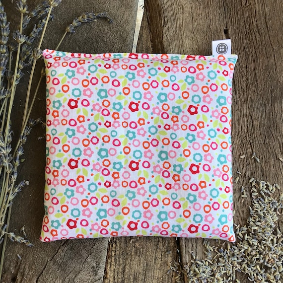 Rice Pack Minis   floral on white, Aromatherapy rice bag, hot and cold therapy, Flax Seed, Microwaveable Rice Heat Pad