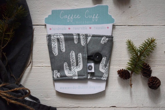 Reversible Coffee Sleeve | Coffee Cup Cozy, Tea Cuff, gray cactus