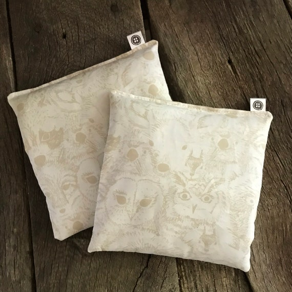 Rice Pack Minis | woodland faces, Aromatherapy rice bag, hot and cold therapy, Flax Seed, Microwaveable Rice Heat Pad