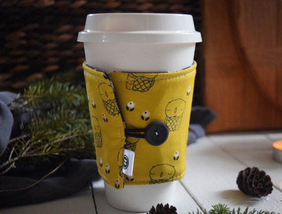 Reversible Coffee Sleeve | Coffee Cup Cozy, Tea Cuff, owl